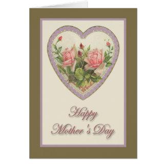 Corazón y flores del vintage del día de madre felicitación
