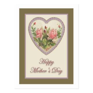 Corazón y flores del vintage del día de madre tarjeta postal
