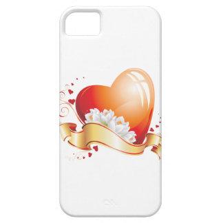 Corazón y flores iPhone 5 funda