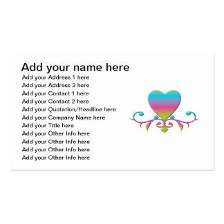 Corazón y flourish en colores pastel tarjetas de visita