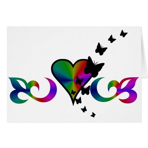 Corazón y lirio negros Rainbowart de la mariposa Tarjeta De Felicitación