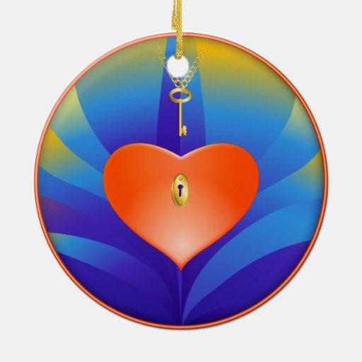 Corazón y llave ornamento para reyes magos
