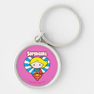 Corazón y logotipo de Chibi Supergirl Starburst Llavero Redondo Plateado