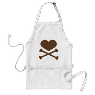 corazón y marrón de la bandera pirata delantal