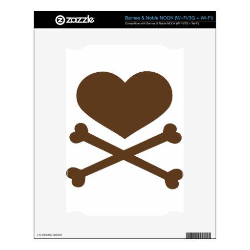 corazón y marrón de la bandera pirata skins para NOOK