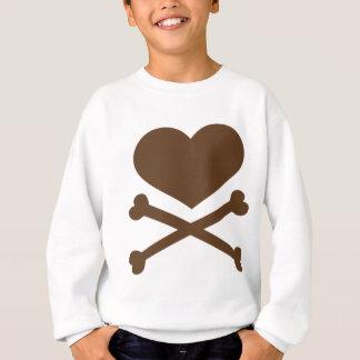 corazón y marrón de la bandera pirata sudadera