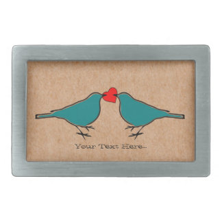 Corazón y pájaros del amor personalizados hebilla de cinturon rectangular