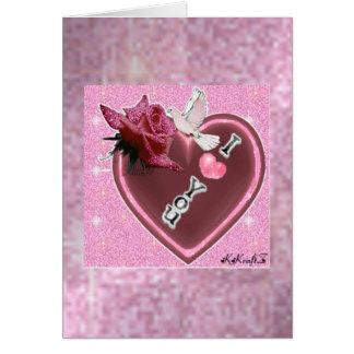 Corazón y paloma rosados DeZignZ de Glitery del ♥ Tarjeta Pequeña