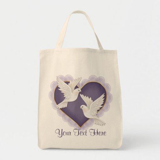 Corazón y palomas - púrpura bolsa tela para la compra