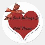 Corazón y pegatina del Bookplate de la cinta