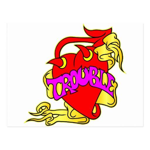 Corazón y problema del diablo tarjeta postal