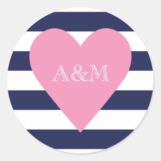 Corazón y rayas dedicados etiquetas redondas