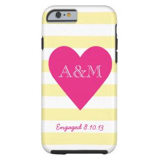 Corazón y rayas dedicados funda de iPhone 6 tough