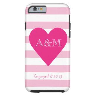 Corazón y rayas dedicados funda para iPhone 6 tough