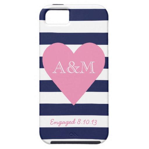 Corazón y rayas dedicados iPhone 5 Case-Mate funda