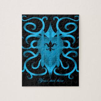 Corazón y remolinos azules románticos puzzle