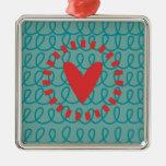 Corazón y remolinos caprichosos del Doodle de la d Ornamento De Reyes Magos