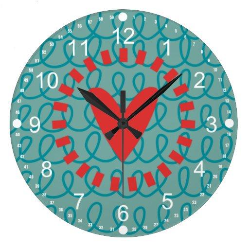Corazón y remolinos caprichosos del Doodle de la d Relojes