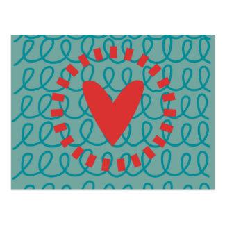 Corazón y remolinos caprichosos del Doodle de la d Postales