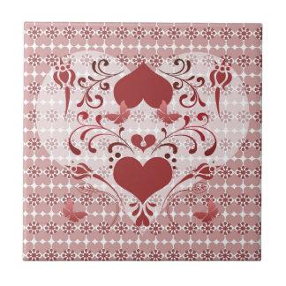 Corazón y remolinos del arte popular azulejos