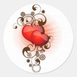 Corazón-y-Remolinos Etiquetas Redondas