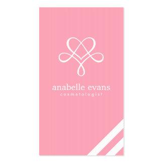 Corazón y remolinos modernos rosados tarjetas de visita