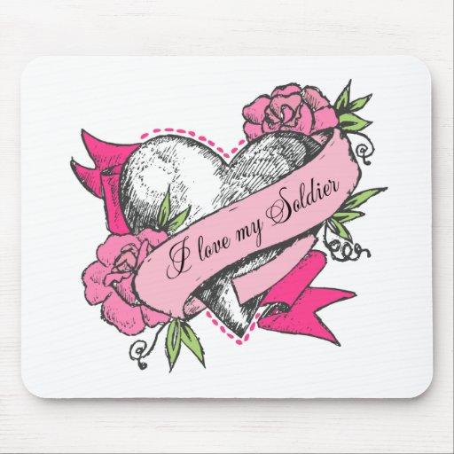 Corazón y rosas alfombrilla de raton