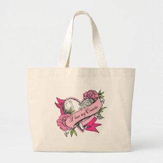 Corazón y rosas bolsa lienzo