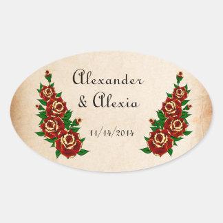 Corazón y rosas del tatuaje de encargo pegatina óval personalizadas