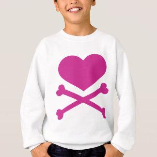 corazón y rosas fuertes de la bandera pirata sudadera