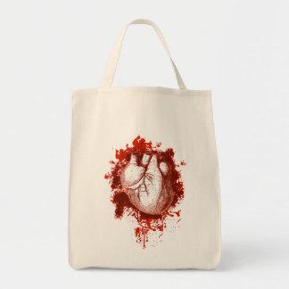 Corazón y salpicón bolsa tela para la compra