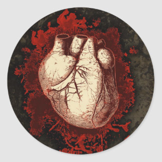 Corazón y salpicón pegatina redonda