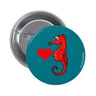 Corazón y Seahorse del vector Pin Redondo De 2 Pulgadas