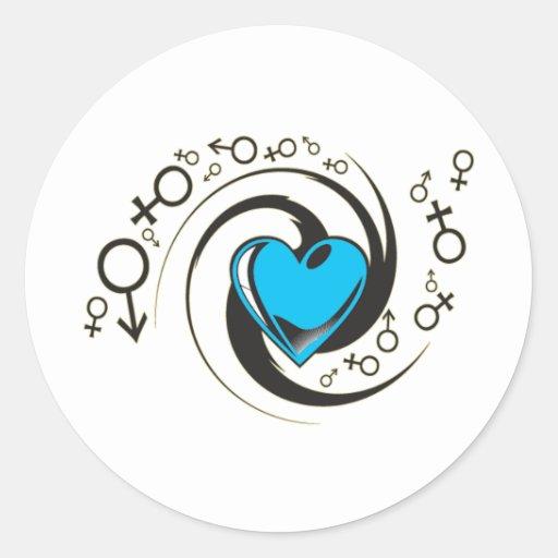 Corazón y símbolos azules tribales pegatina redonda