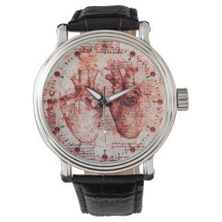Corazón y su blanco rojo del pergamino de los relojes