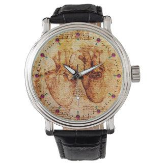 Corazón y su pergamino Brown de los vasos Relojes De Mano