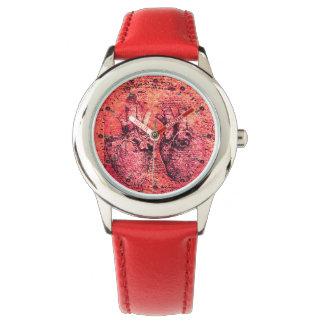 Corazón y su rojo del pergamino de los vasos reloj