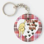 Corazón y tela escocesa amarillos de la mamá del l llaveros personalizados