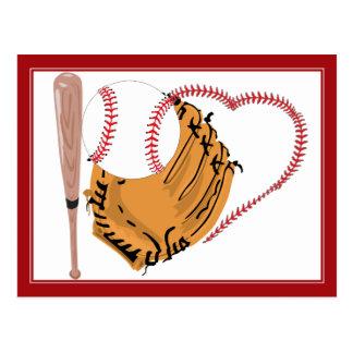 Corazón y texto del béisbol postal