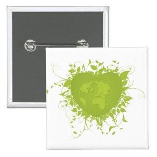 Corazón y tierra verdes pin cuadrada 5 cm