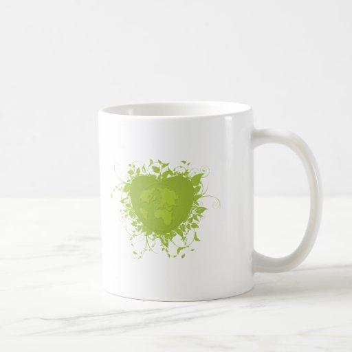 Corazón y tierra verdes tazas