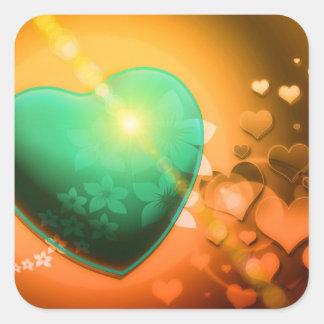 Corazón y trébol verdes anaranjados del fondo w de pegatina cuadrada