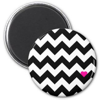 Corazón y Viga - Negro/Rosado Imán Redondo 5 Cm