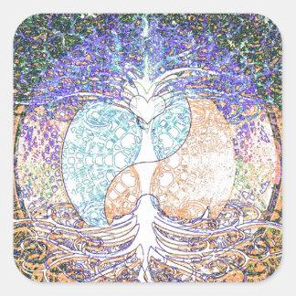 Corazón yin yang árbol de la vida de Amelia Carr Calcomanías Cuadradass