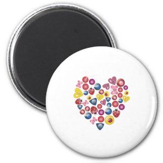 Corazones 0312 del botón imán redondo 5 cm