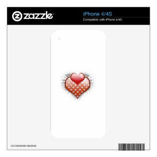 Corazones 2 de la tarjeta del día de San Valentín iPhone 4S Calcomanía