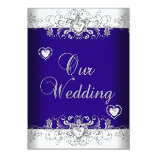 Corazones 2a del diamante de la plata del boda del invitación personalizada