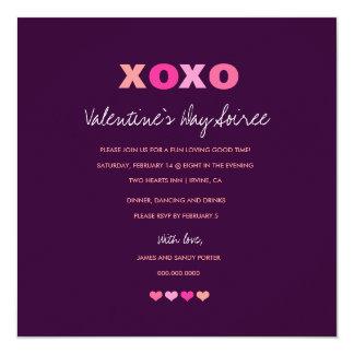 """corazones 311-XOXO en una fila Deep Purple Invitación 5.25"""" X 5.25"""""""
