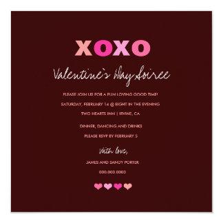 corazones 311-XOXO en una fila Invitaciones Personales