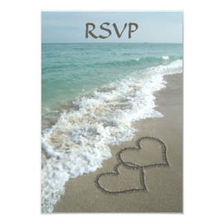 """Corazones a juego de la arena en la playa, océano invitación 3.5"""" x 5"""""""